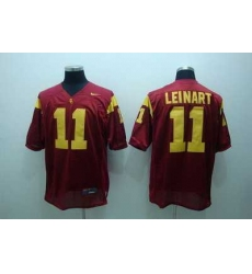 Trojans #11 Matt Leinart Red Embroidered NCAA Jersey