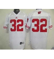 Badgers #32 White Embroidered NCAA Jersey