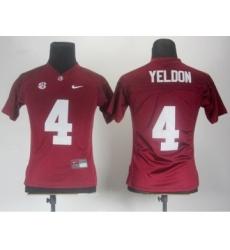 Women Alabama Crimson Tide 4 T.J Yeldon Red 2012 SEC Patch Jerseys