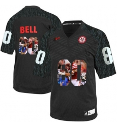Nebraska Cornhuskers #80 Kenny Bell Black With Portrait Print College Football Jersey