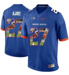 Boise State Broncos #27 Jay Ajayi Blue With Portrait Print College Football Jersey3