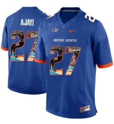 Boise State Broncos #27 Jay Ajayi Blue With Portrait Print College Football Jersey