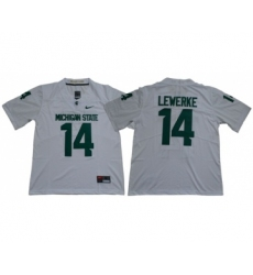 Spartans #14 Brian Lewerke White Limited Stitched NCAA Jersey