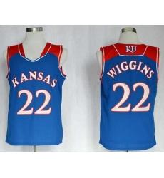 Kansas Jayhawks #22 Andrew Wiggins Blue Basketball Stitched NCAA Jersey