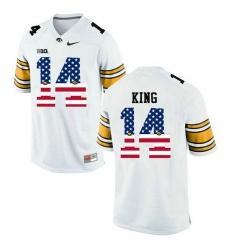 Iowa Hawkeyes #14 Desmond King White USA Flag College Football Limited Jersey