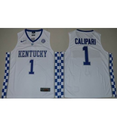 Kentucky Wildcats #1 John Calipari White Basketball Elite Stitched NCAA Jersey