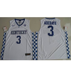 Kentucky Wildcats #3 Edrice Adebayo White Basketball Elite Stitched NCAA Jersey