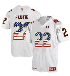 Boston College Eagles #22 Doug Flutie White Fenway Event Authentic Performance USA Flag College Football Jersey