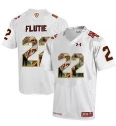 Boston College Eagles #22 Doug Flutie White With Portrait Print College Football Jersey2