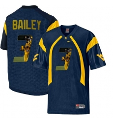 West Virginia Mountaineers #3 Stedman Bailey Navy With Portrait Print College Football Jersey
