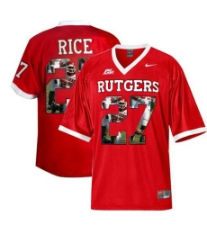 Rutgers Scarlet Knights #27 Ray Rice Big East Patch Red With Portrait Print College Football Jersey