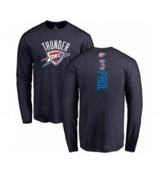 Basketball Oklahoma City Thunder #3 Chris Paul Navy Blue Backer Long Sleeve T-Shirt