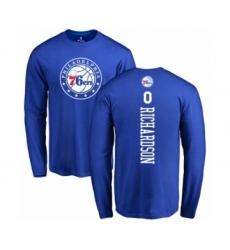 Basketball Philadelphia 76ers #0 Josh Richardson Royal Blue Backer Long Sleeve T-Shirt