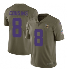 Men's Nike Minnesota Vikings #8 Kirk Cousins Limited Olive 2017 Salute to Service NFL Jersey