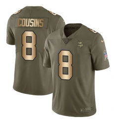 Men's Nike Minnesota Vikings #8 Kirk Cousins Limited Olive Gold 2017 Salute to Service NFL Jersey