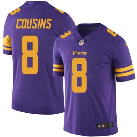 Men's Nike Minnesota Vikings #8 Kirk Cousins Limited Purple Rush Vapor Untouchable NFL Jersey