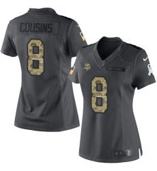 Women's Nike Minnesota Vikings #8 Kirk Cousins Limited Black 2016 Salute to Service NFL Jersey