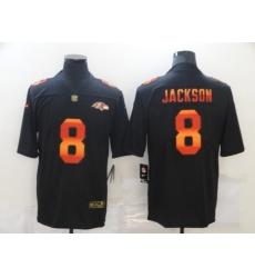 Men's Baltimore Ravens #8 Lamar Jackson Black colorful Nike Limited Jersey