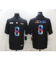 Men's Baltimore Ravens #8 Lamar Jackson Rainbow Version Nike Limited Jersey