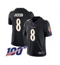 Youth Nike Baltimore Ravens #8 Lamar Jackson Black Alternate Vapor Untouchable Limited Player 100th Season NFL Jersey