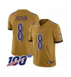 Youth Nike Baltimore Ravens #8 Lamar Jackson Limited Gold Inverted Legend 100th Season NFL Jersey