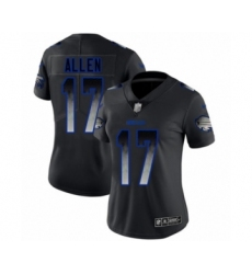 Women's Buffalo Bills #17 Josh Allen Limited Black Smoke Fashion Football Jersey