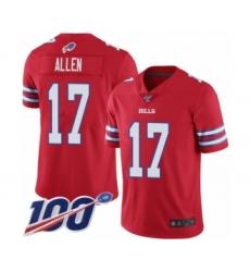 Youth Nike Buffalo Bills #17 Josh Allen Limited Red Rush Vapor Untouchable 100th Season NFL Jersey