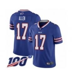 Youth Nike Buffalo Bills #17 Josh Allen Royal Blue Team Color Vapor Untouchable Limited Player 100th Season NFL Jersey