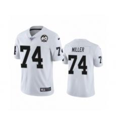 Men's Oakland Raiders #74 Kolton Miller White 60th Anniversary Vapor Untouchable Limited Player 100th Season Football Jersey