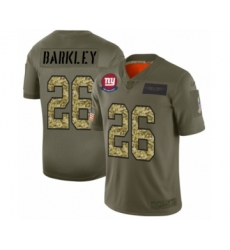 Men's New York Giants #26 Saquon Barkley 2019 Olive Camo Salute to Service Limited Jersey