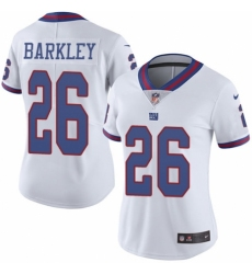 Women's Nike New York Giants #26 Saquon Barkley Limited White Rush Vapor Untouchable NFL Jersey