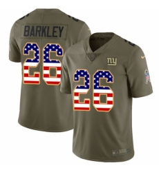 Youth Nike New York Giants #26 Saquon Barkley Limited Olive USA Flag 2017 Salute to Service NFL Jersey