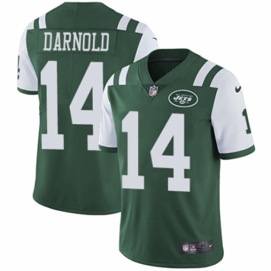 Men's Nike New York Jets #14 Sam Darnold Green Team Color Vapor Untouchable Limited Player NFL Jersey
