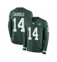 Men's Nike New York Jets #14 Sam Darnold Limited Green Therma Long Sleeve NFL Jersey