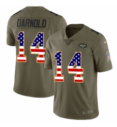 Youth Nike New York Jets #14 Sam Darnold Limited Olive/USA Flag 2017 Salute to Service NFL Jersey