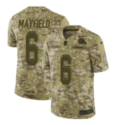 Men's Nike Cleveland Browns #6 Baker Mayfield Limited Camo 2018 Salute to Service NFL Jersey