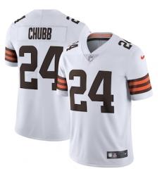 Nike Cleveland Browns #24 Nick Chubb Men's White 2020 Vapor Limited Jersey