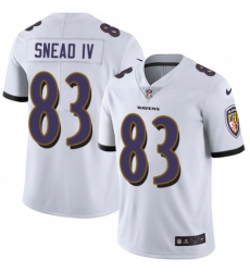Men's Nike Baltimore Ravens #83 Willie Snead IV White Vapor Untouchable Limited Player NFL Jersey