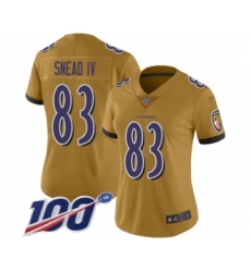 Women's Baltimore Ravens #83 Willie Snead IV Limited Gold Inverted Legend 100th Season Football Jersey