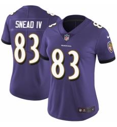 Women's Nike Baltimore Ravens #83 Willie Snead IV Purple Team Color Vapor Untouchable Limited Player NFL Jersey