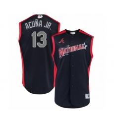 Men's Atlanta Braves #13 Ronald Acuna Jr. Authentic Navy Blue National League 2019 Baseball All-Star Jersey