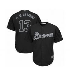 Men's Atlanta Braves #13 Ronald Acuna Jr.  El de la Sabana  Authentic Black 2019 Players Weekend Baseball Jersey