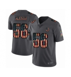 Men's Indianapolis Colts #56 Quenton Nelson Limited Carbon Black Retro Flag Football Jersey