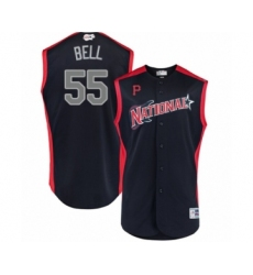 Men's Pittsburgh Pirates #55 Josh Bell Authentic Navy Blue National League 2019 Baseball All-Star Jersey