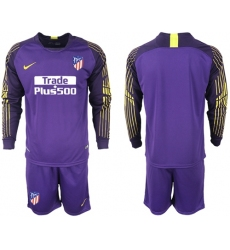 Atletico Madrid Blank Purple Goalkeeper Long Sleeves Soccer Club Jersey