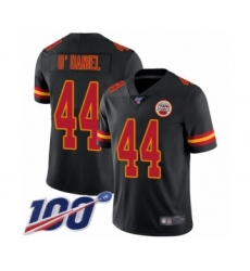 Men's Kansas City Chiefs #44 Dorian O'Daniel Limited Black Rush Vapor Untouchable 100th Season Football Jersey