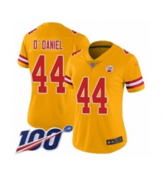 Women's Kansas City Chiefs #44 Dorian O'Daniel Limited Gold Inverted Legend 100th Season Football Jersey