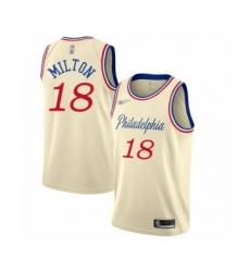 Men's Philadelphia 76ers #18 Shake Milton Swingman Cream Basketball Jersey - 2019 20 City Edition