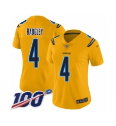 Women's Los Angeles Chargers #4 Michael Badgley Limited Gold Inverted Legend 100th Season Football Jersey