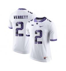 TCU Horned Frogs 2 Jason Verrett White Print College Football Limited Jersey